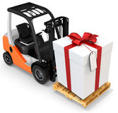 3d forklift with huge gift box Royalty Free Stock Photo