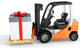 3d forklift with huge gift box Royalty Free Stock Photos