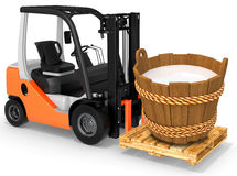 3d forklift with milk wood bucket. On white background Stock Photography