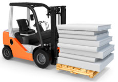 3d forklift with pallet and stack of books Stock Images