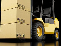 3d forklift truck with cardboard boxes. 3d illustration. Forklift truck with cardboard boxes Royalty Free Stock Image