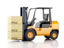 3d forklift truck with cardboard  boxes. 3d image. Forklift truck with cardboard  boxes.  white background Stock Photo
