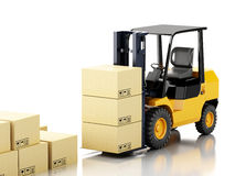 3d forklift truck with cardboard  boxes. 3d image. Forklift truck with cardboard  boxes.  white background Stock Photography