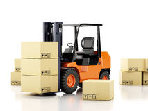 3d forklift truck with cardboard  boxes. 3d image. Forklift truck with cardboard  boxes.  white background Royalty Free Stock Images