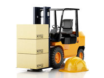 3d forklift truck with cardboard  boxes. 3d image. Forklift truck with cardboard  boxes.  white background Royalty Free Stock Photo