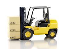 3d forklift truck with cardboard  boxes. 3d image. Forklift truck with cardboard  boxes.  white background Stock Image