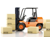 3d forklift truck with cardboard  boxes. 3d image. Forklift truck with cardboard  boxes.  white background Royalty Free Stock Photography