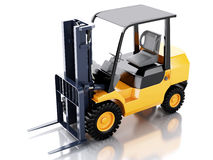 3d Forklift truck. cargo.  white background Stock Photography