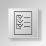 3D  form checklist Button Icon Concept Royalty Free Stock Photo