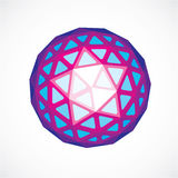 3d form, futuristic origami abstract modeling. Purple vector low. Poly design element, cybernetic orb shape for use in science and technology Stock Image