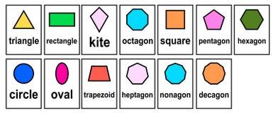 2D Form 2D geometrisches vorbildliches Word Cards für Kind und Kindergartensatzvektor stock abbildung