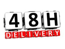 3D Forty Eight Hour Delivery Button Click Here Block Text. Over white background stock illustration