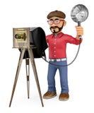 3D Fotograaf die een foto met een uitstekende camera nemen royalty-vrije illustratie