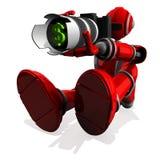3D Fotograf Robot Red Color mit DSLR-Kamera-und -geld-Symbol Lizenzfreies Stockfoto