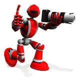 3D fotografen Robot Red Color poserar med DSLR-kameran, tummar upp stock illustrationer