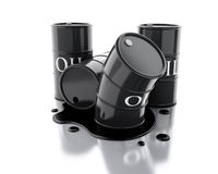 3d Four barrels of oil spilled. Royalty Free Stock Photos