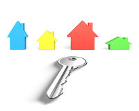 3D four colorful houses and one silver key Stock Image