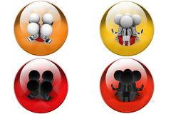 3D four Man sitting on disk concept icon Stock Photos
