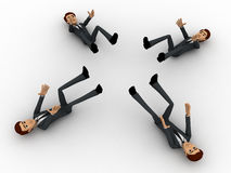 3d four men about to catch falling object concept Royalty Free Stock Photos