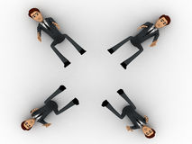 3d four men about to catch falling object concept Stock Image