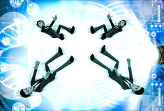 3d four men about to catch falling object illustration Royalty Free Stock Images