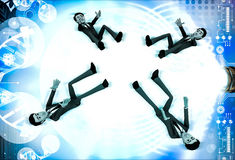 3d four men about to catch falling object illustration Royalty Free Stock Photo