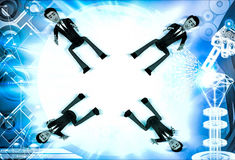 3d four men about to catch falling object illustration Royalty Free Stock Image