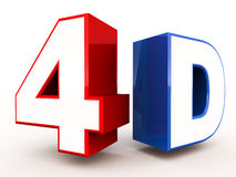 4d. Or fourth dimension concept,  on white background Stock Image