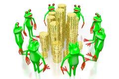 3D Frösche - goldenes Münzenkonzept Stockbild