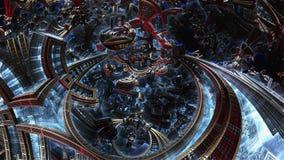 3d fractal of future city. Development of civilization in galaxy. stock video