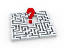 3d Fragezeichensymbol im Labyrinth Lizenzfreies Stockbild