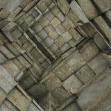 3d fragmentado telhou o interior do labirinto do mosaico no bege cinzento Foto de Stock Royalty Free