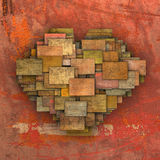 3d fragmented love heart shape square tile grunge pattern Royalty Free Stock Photography