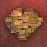 3d fragmented love heart shape square tile grunge pattern Royalty Free Stock Photos