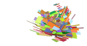 3d multiple color abstract floral shape. 3d fragmented multiple color abstract floral shape stock illustration