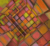 3d fragmented tiled graffiti labyrinth in multiple spray color. Fragmented tiled graffiti labyrinth in multiple spray color Royalty Free Stock Image