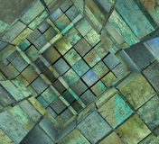 3d fragmented tiled mosaic labyrinth in blue green Royalty Free Stock Photo