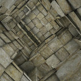 3d fragmented tiled mosaic labyrinth interior in gray beige Royalty Free Stock Photo