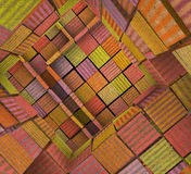 3d fragmented tiled mosaic labyrinth in multiple color Royalty Free Stock Image