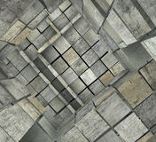 3d fragmented tiled mosaic labyrinth in multiple gray Stock Photos