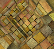 3d fragmented tiled mosaic labyrinth in orange pink Stock Image