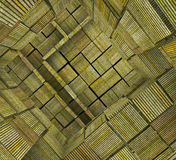 3d fragmented tiled mosaic labyrinth striped green yellow Royalty Free Stock Images
