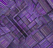 3d fragmented tiled mosaic labyrinth striped purple lavender mag Royalty Free Stock Images