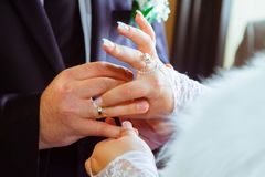 3d frambragt bildcirkelbröllop Brudhänder Brudgumhandförälskelse och förbindelse arkivbild