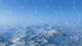 3d frambragt vinterlandskap: Dimmiga berg stock illustrationer