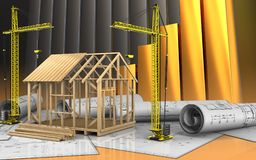 3d of frame house construction Royalty Free Stock Image