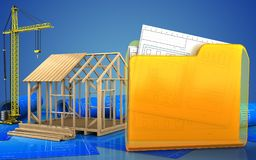 3d of frame house construction Royalty Free Stock Photo