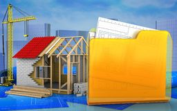 3d of frame house Stock Photography