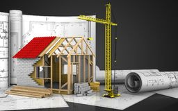 3d of frame house Royalty Free Stock Photos
