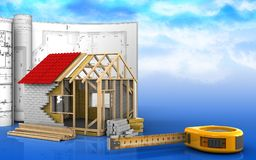 3d of frame house Stock Images